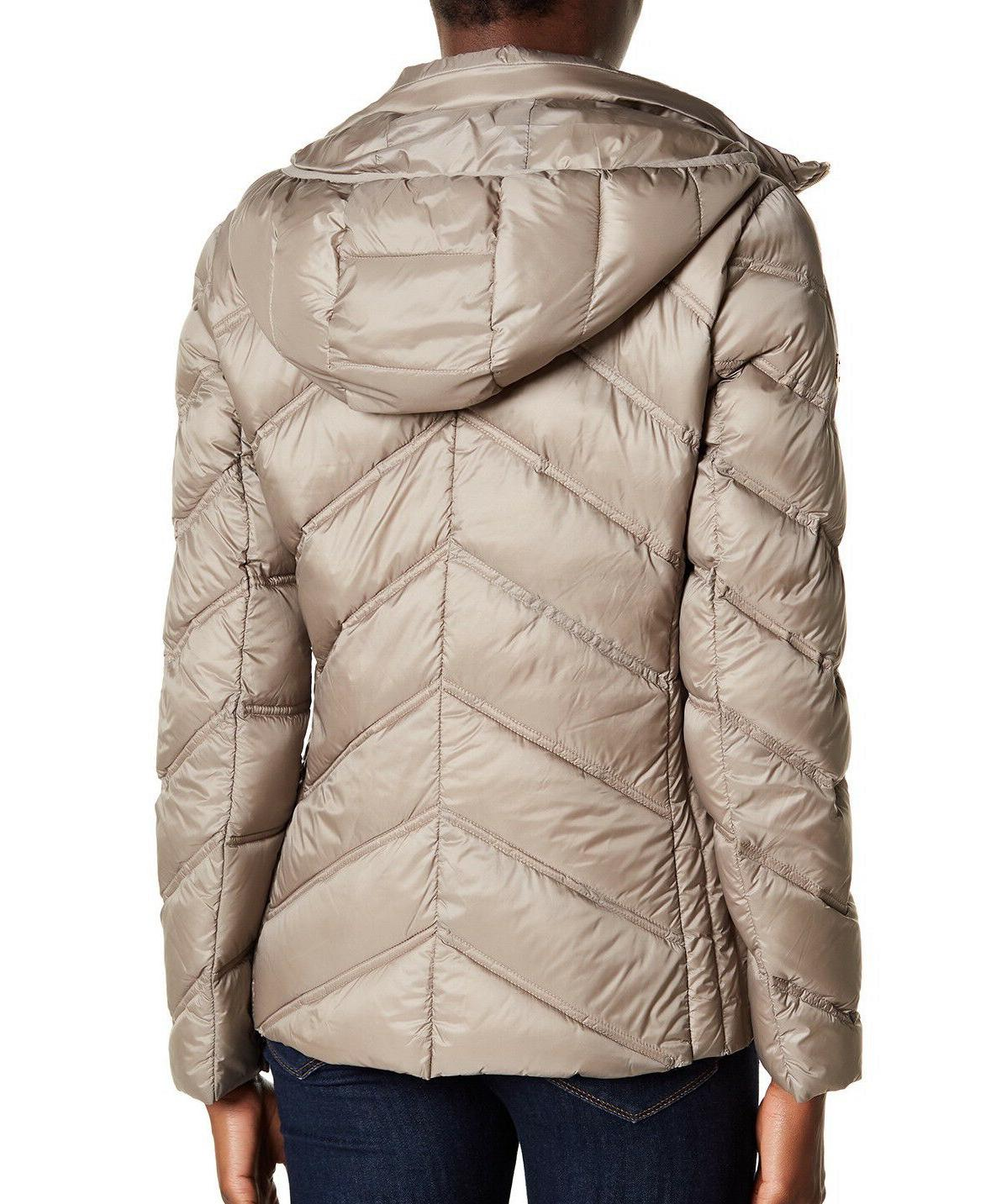 MICHAEL Michael Packable Quilted Puffer Down Jacket Taupe