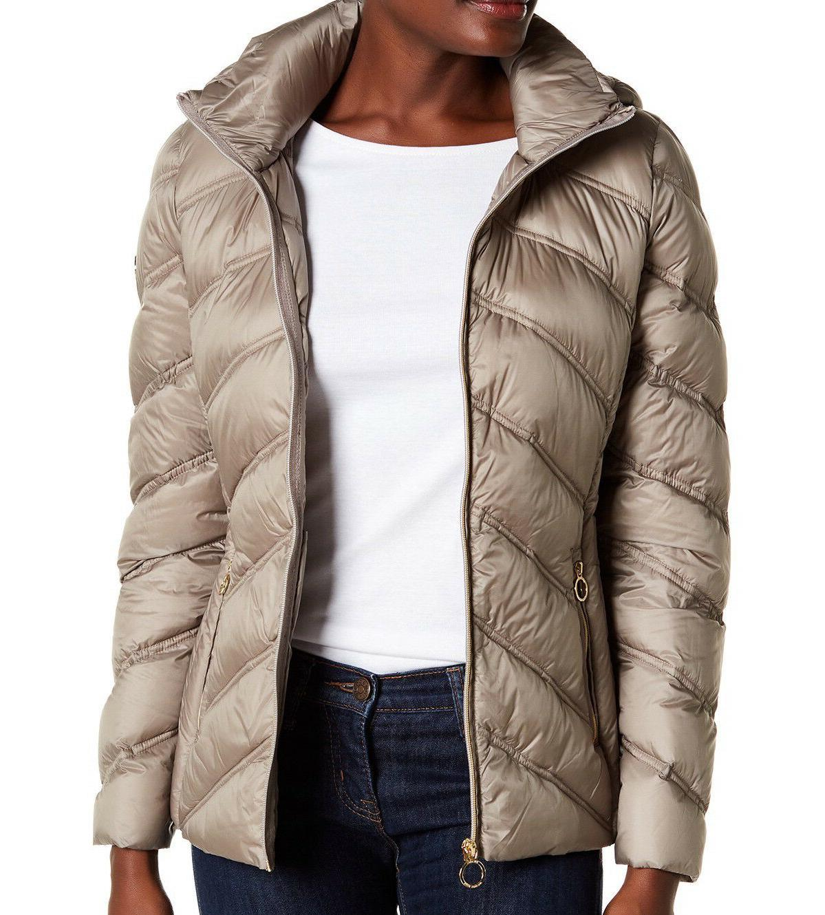 michael womens packable quilted chevron puffer down
