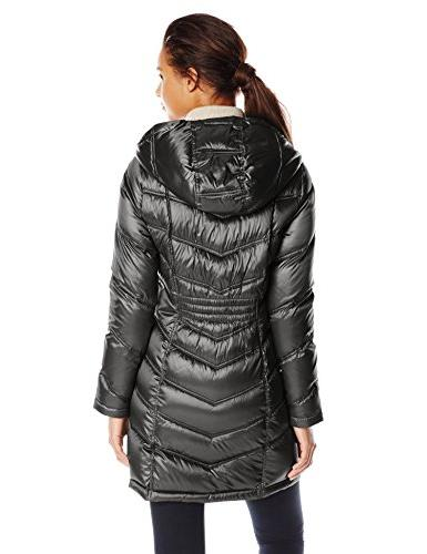 Calvin Length Packable Down Coat, Metallic
