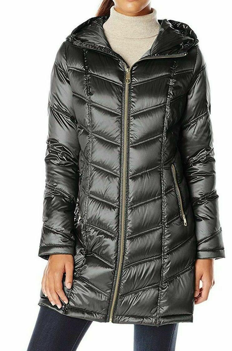 mid packable chevron down coat