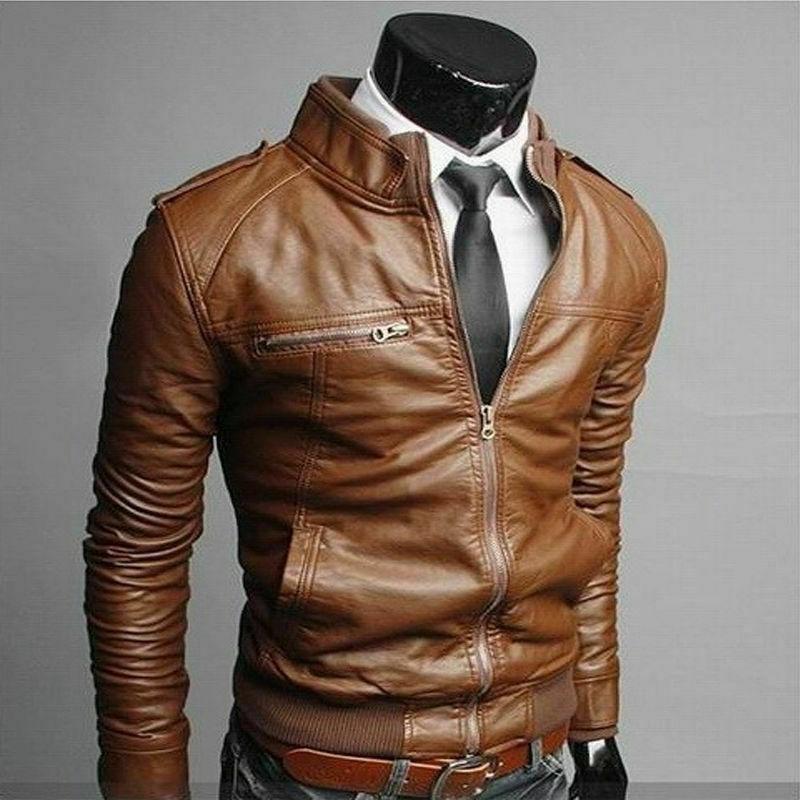 New Men's Fashion Jackets Collar Slim Leather Jacket Outwear