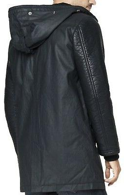 New EXPRESS Men's Leather Hooded Parka Jacket, NWT【S】【$300】 *LAST ONE*