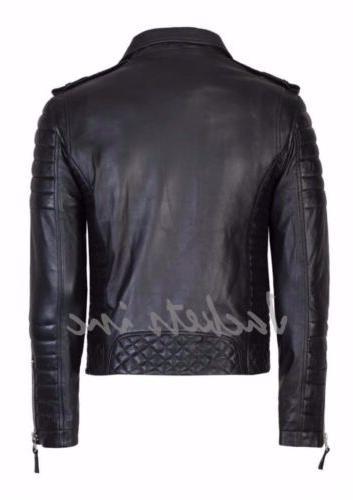 New Men's Genuine Leather Jacket BROWN Biker jacket