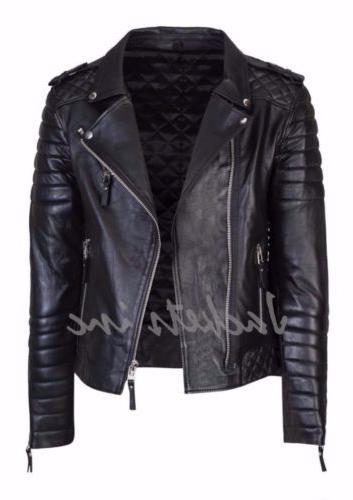 New Men's Leather Jacket BROWN Biker jacket
