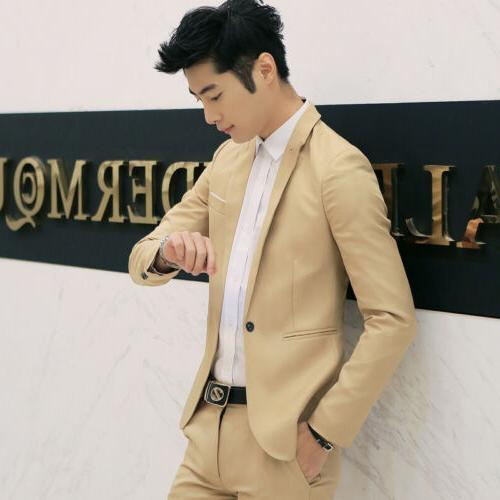 New Mens Slim Fit Button Suit Blazer Business With