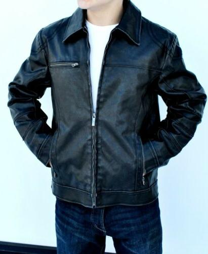 New Faux-Leather Jacket Coat Detachable Hood Large