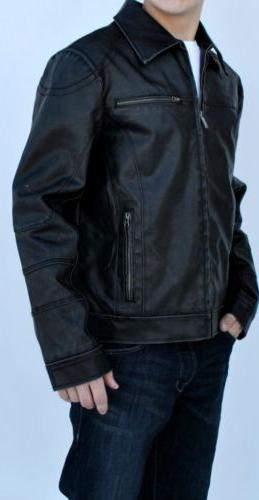 New Faux-Leather Coat Detachable Hood Large