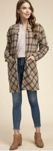 NEW NWT $60 WOMENS MEDIUM ENTRO PLAID LONG JACKET CARDIGAN I