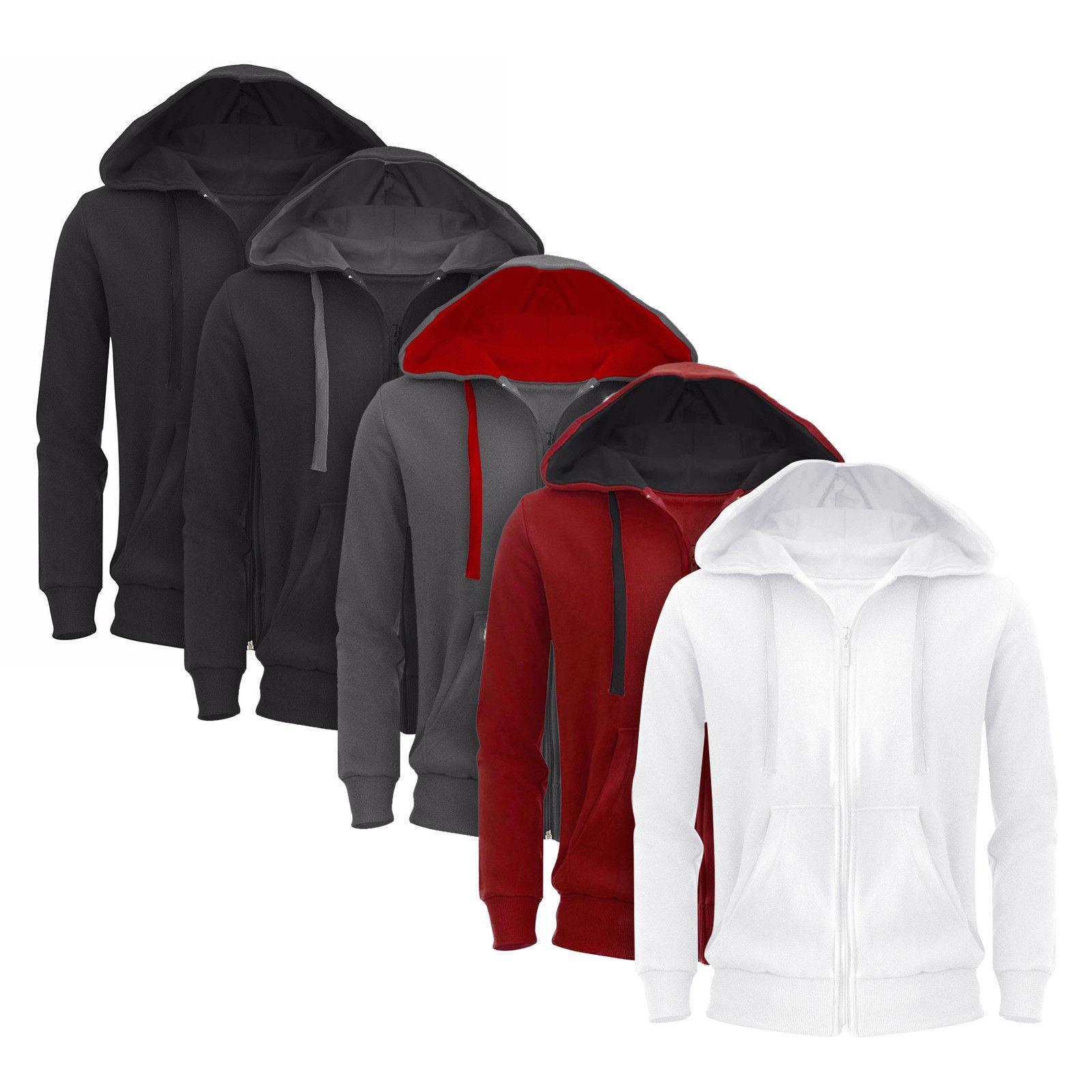 Mens Plain Hooded Fleece Jacket Zipper Casual S-XXXL