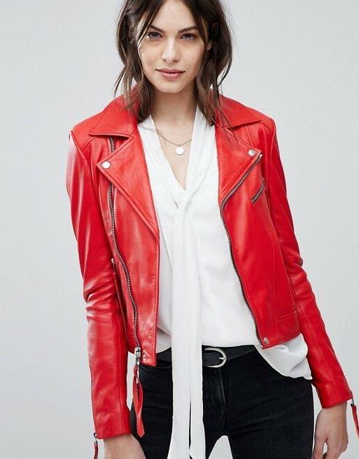 new women leather jacket red slim fit