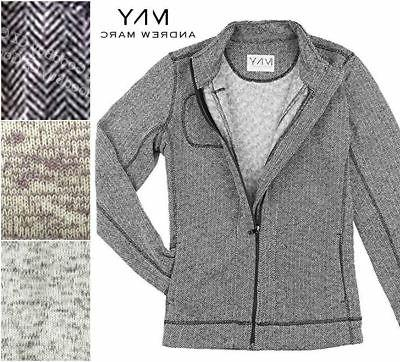 New Andrew Marc Women's Knit Full Zip Sweater Jacket Fleece