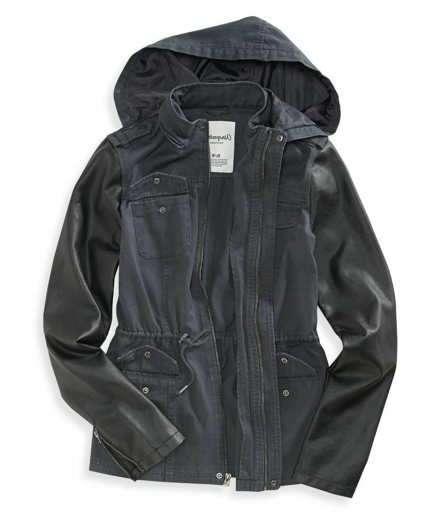 NWT Hooded Faux Leather Sleeve Anorak Jacket M, L