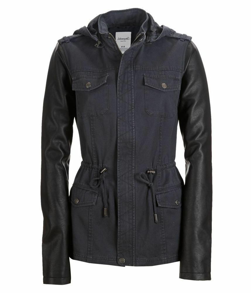 nwt aero women hooded faux leather sleeve