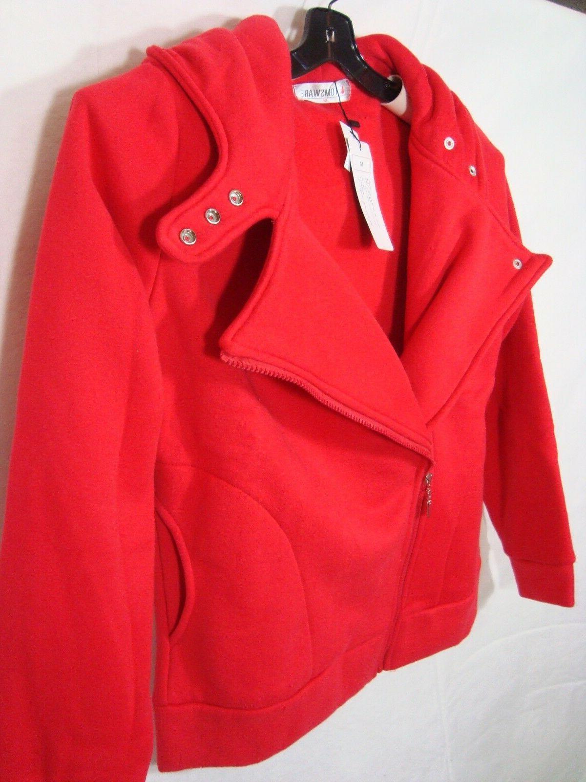NWT Womens Red Hoodie Moto Jacket Coat Medium