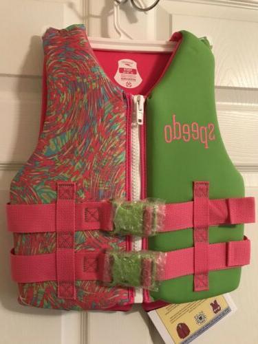 NWT! Speedo Youth Girl Pink/Green Neoprene Vest Preserver