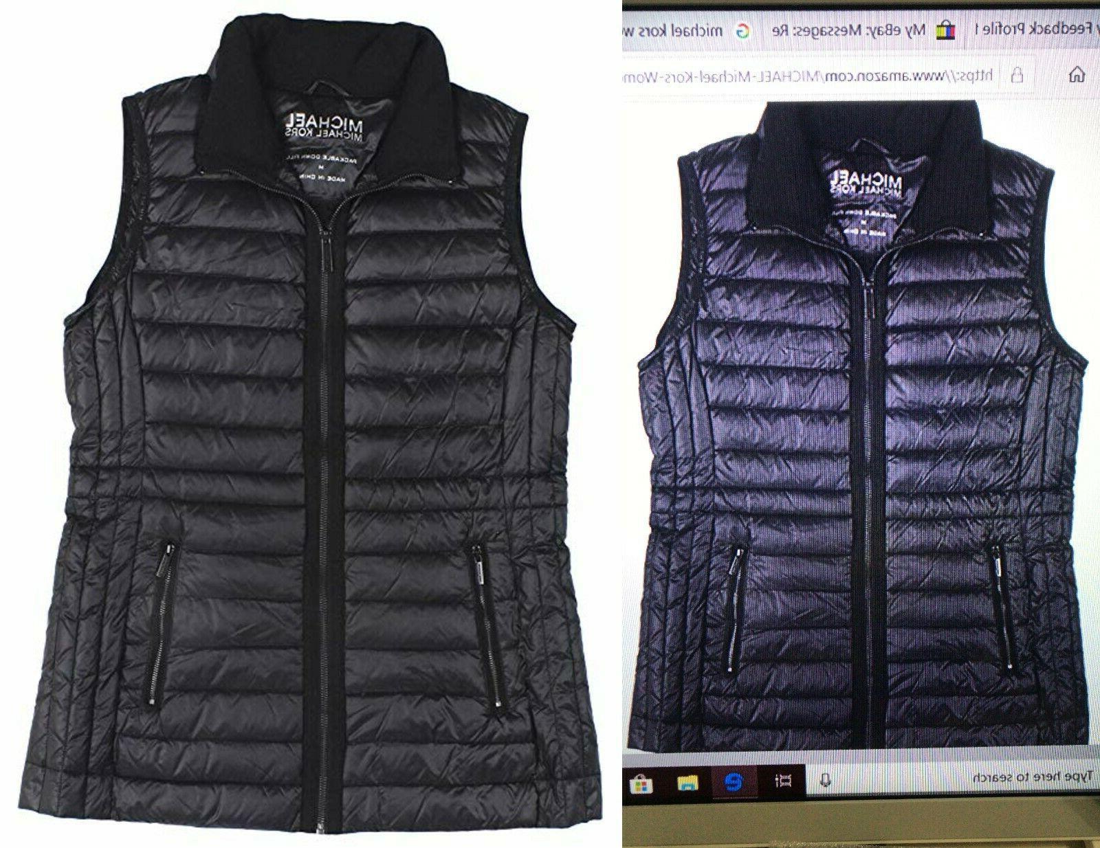 packable zip up down puffer vest navy