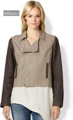 petites linen color block jacket size pp