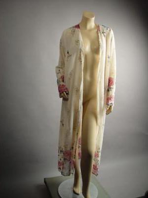 Plus Japanese Print Long Duster Robe 242 mv 1XL 3XL