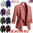 Plus Size Women Collar Suit Jacket Coat Blazer Ladies 3/4 Sl