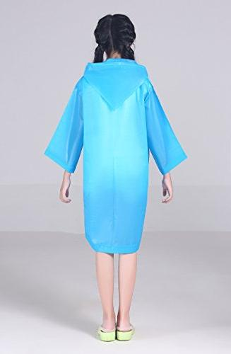 AzBoys Ponchos 2Pack,Blue Yellow,Waterproof Rain Poncho Raincoat Girls Ages 6-12,for