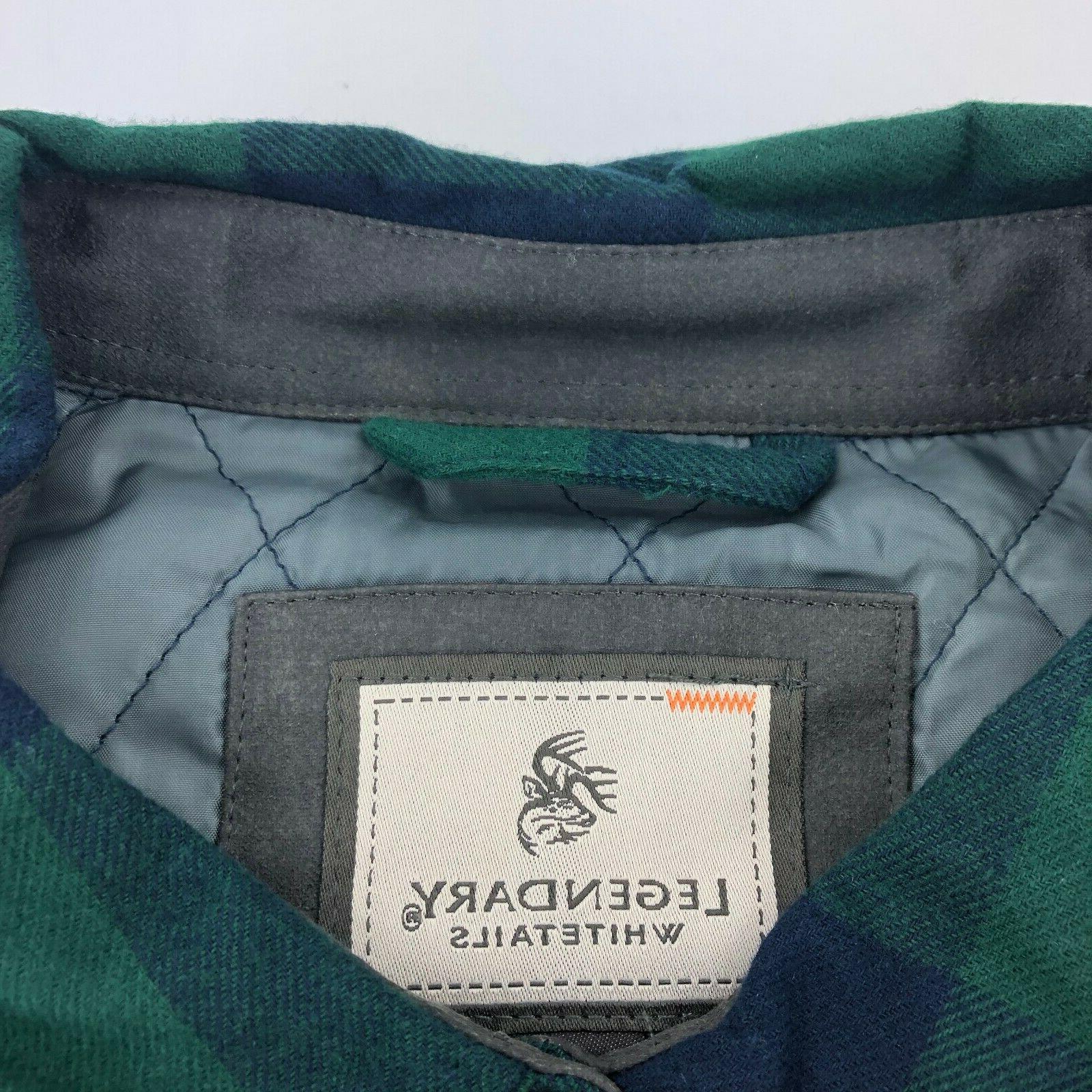 Legendary Whitetails XL Woodsman Quilted Shirt Green Plaid BOBR A85