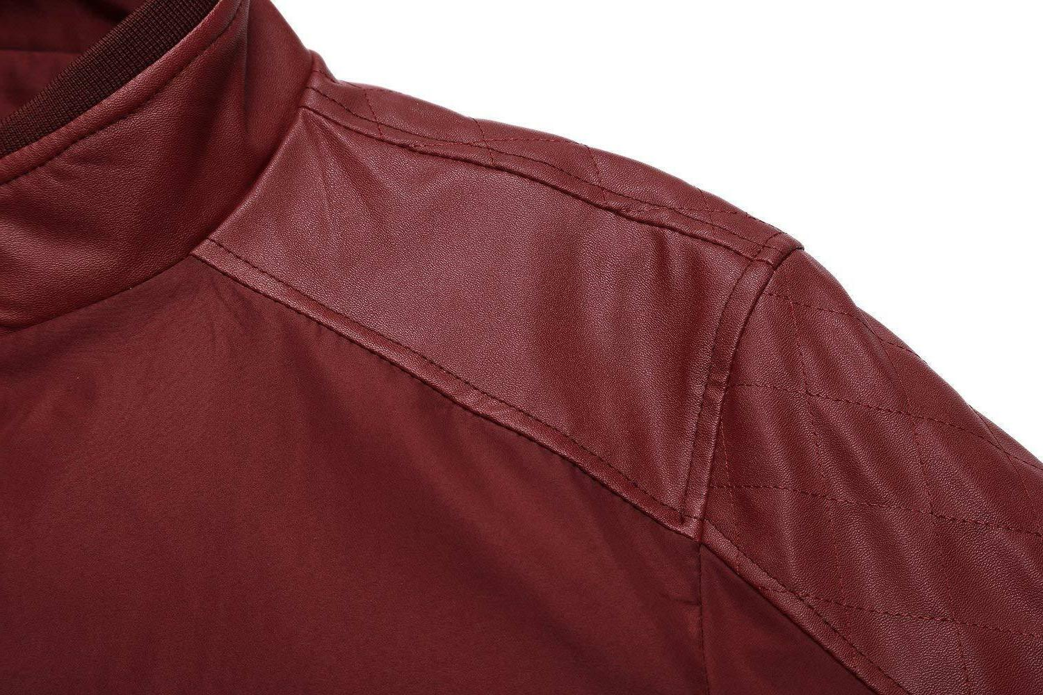 Springrain Men's Collar Leather Bomber
