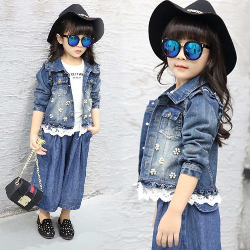Star Flower Little Girls Denim Jackets Outwear