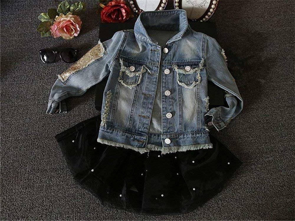 Star Flower Little Girls Denim Outwear