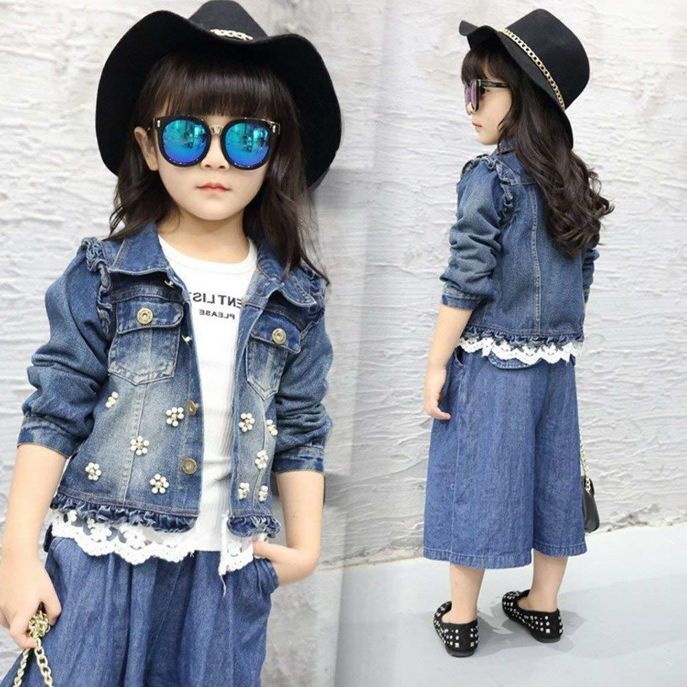 Star Flower Girls Denim Jackets Coats Outwear