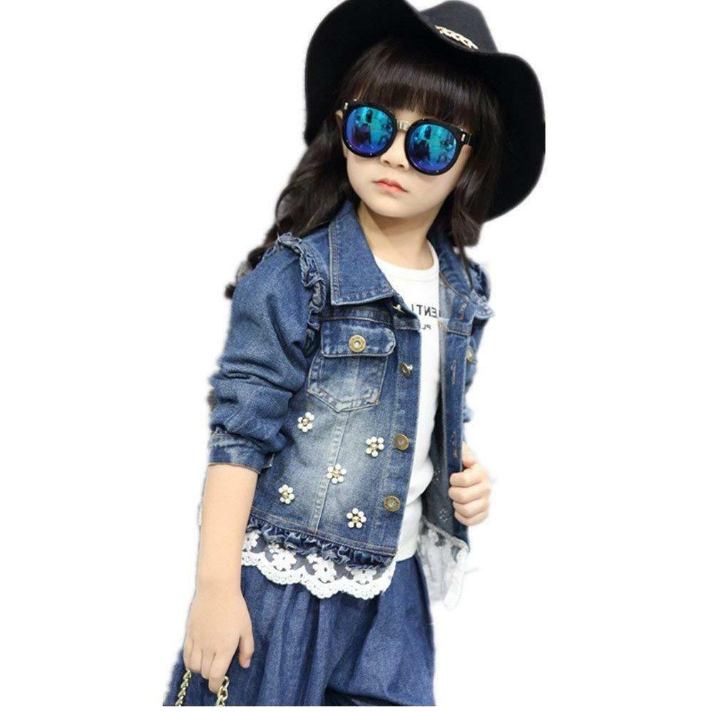 star flower little big girls denim jackets