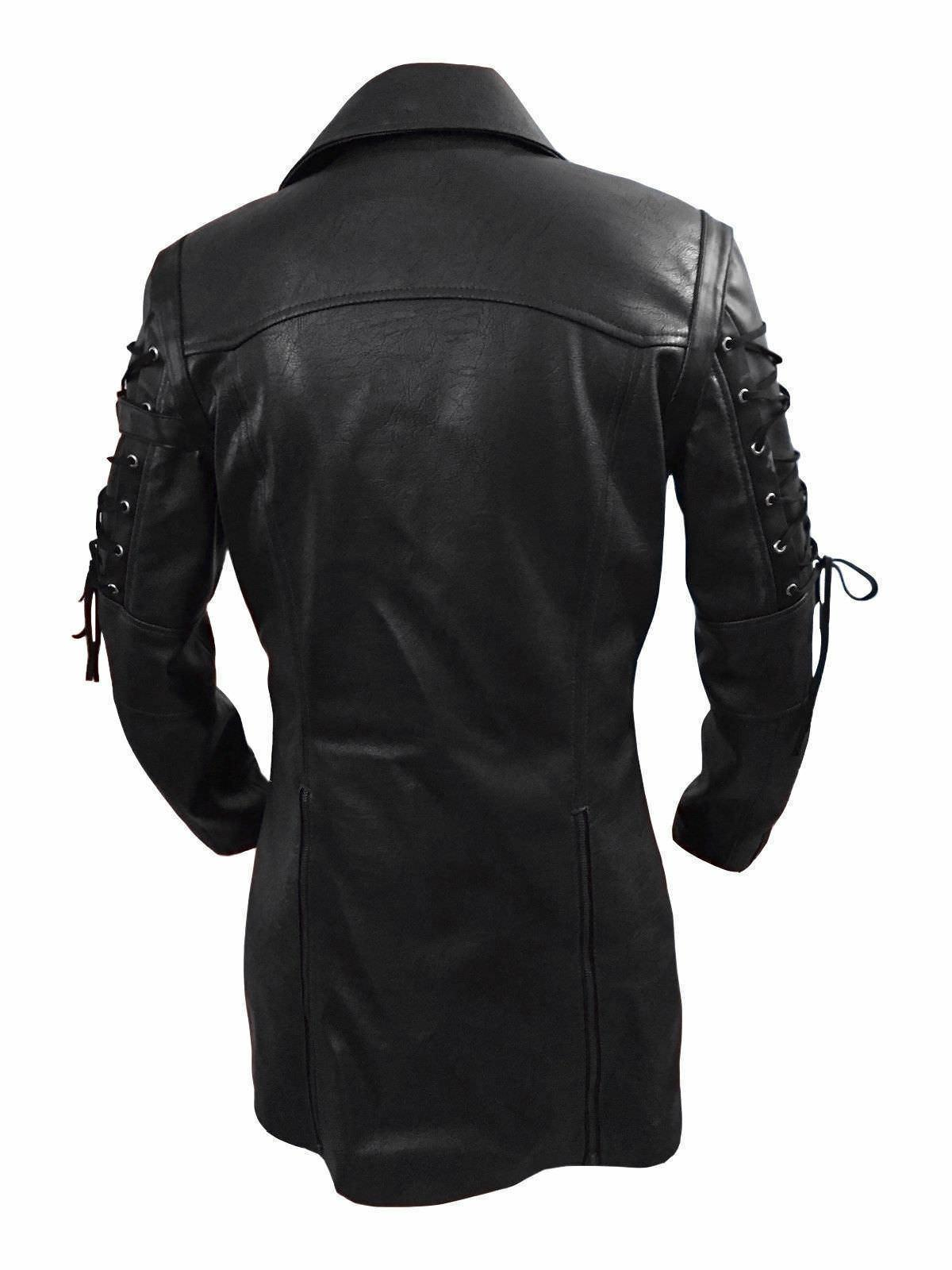 Steampunk Men's Gothic PU Jacket Coat Goth Punk Coat Arrival