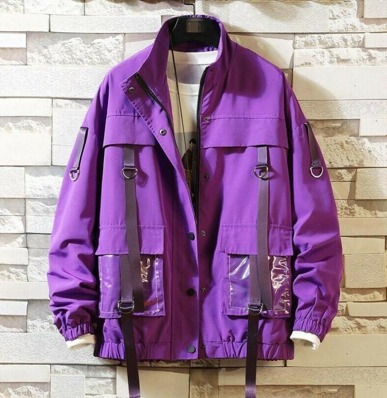 Street Men's Loose Strap Decor Cargo Jackets Pockets Coats T