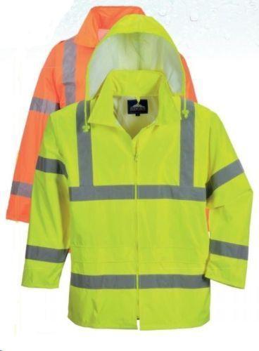uh440 hi vis hooded rain jacket yellow