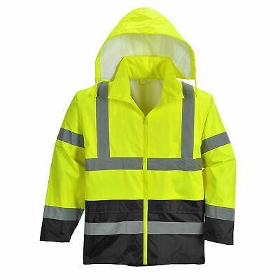 uh443 hi vis rain jacket stow away
