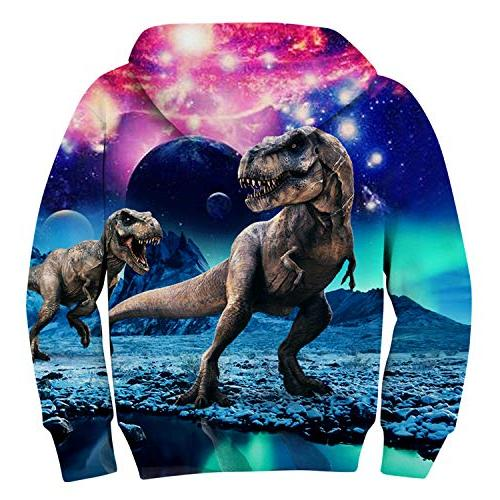 Uideazone Unisex Girls Galaxy Dinosaur Hooded Cool Graphic Funny Sweatshirts