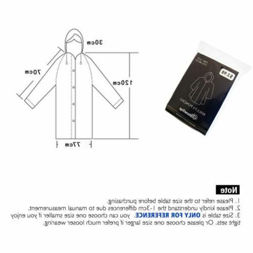 US Waterproof PE Hooded Raincoat Coat Poncho Rainwear