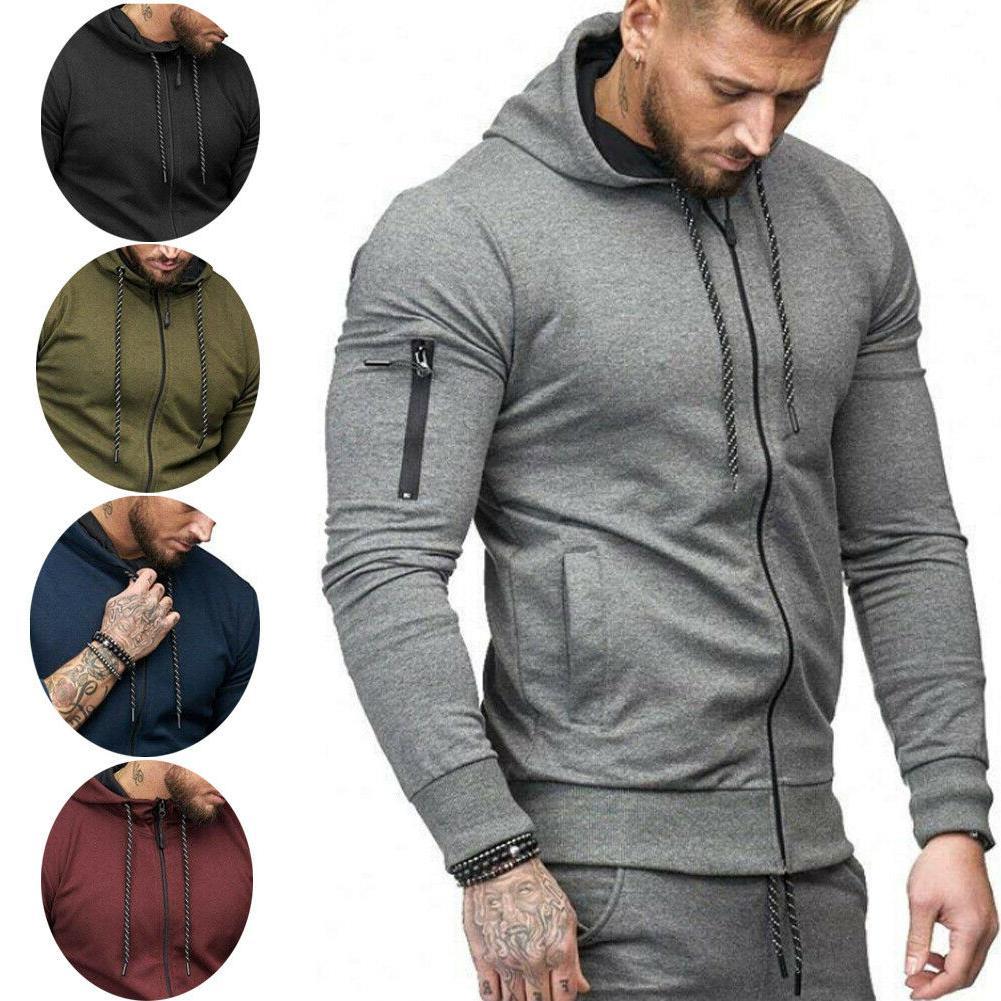 US Men Hooded Hoodie Coat Fit Tops