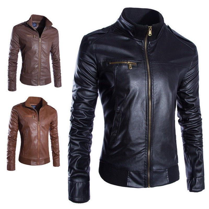 Retro Faux Biker Coats Zipper Coats