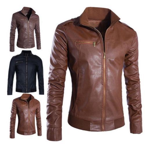 retro men s faux leather biker coats