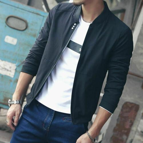 US New Men Casual Baseball Coat Overcoat