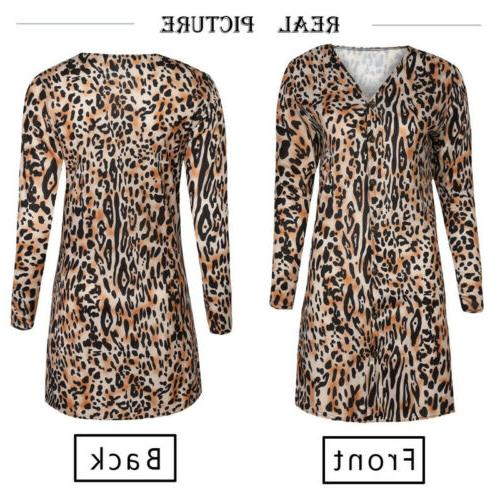 US STOCK Women Leopard Print Top Cardigan Loose Casual Long