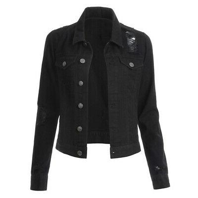 US Women Denim Long Distressed Button Jeans Jacket