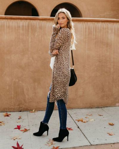 US Sleeve Cardigan Leopard Kimono Shawl Tops Jacket