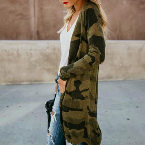 US Women Long Sleeve Kimono Shawl Tops Blouse Jacket