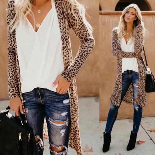 US Long Sleeve Cardigan Leopard Kimono Shawl Tops Jacket