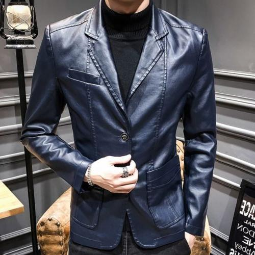 Vogue Men's Faux Leather Blazer Fit Jackets