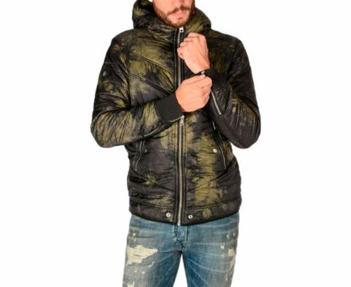 w generic mens jacket padded hooded puffer