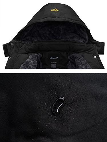 Wantdo Waterproof Mountain Jacket Fleece Windproof Jacket Black L