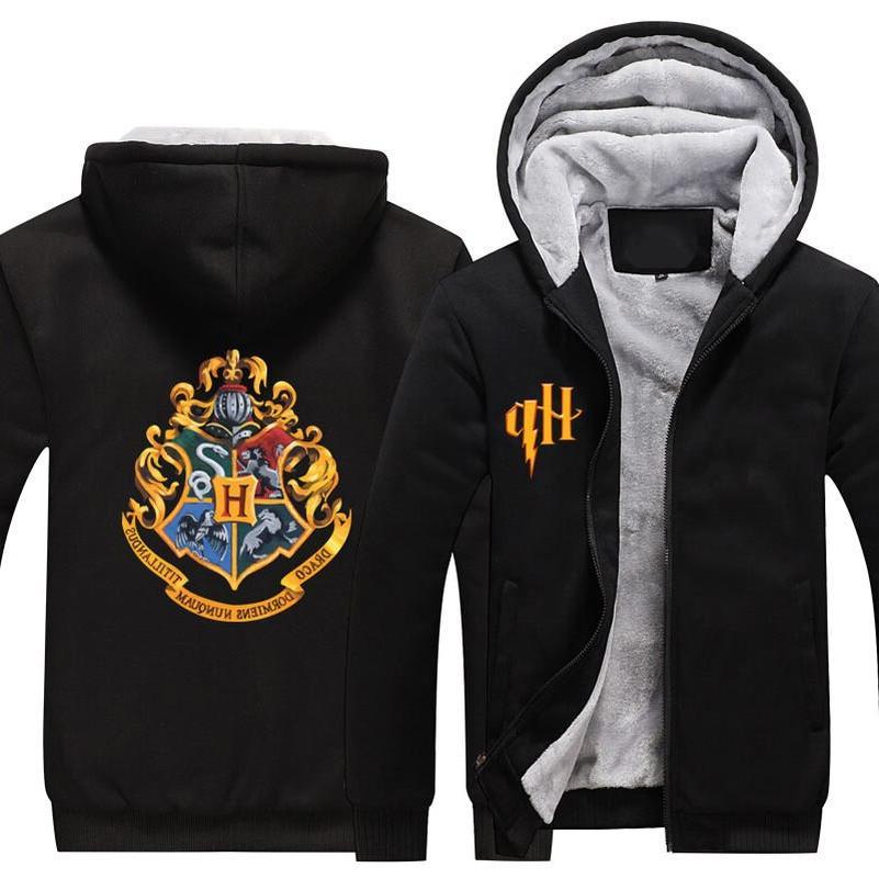 Wizardry Hogwarts Sweatshirt <font><b>Jacket</b></font> Men Streetwear Plus Fleece Up Hoodie Parka Coat