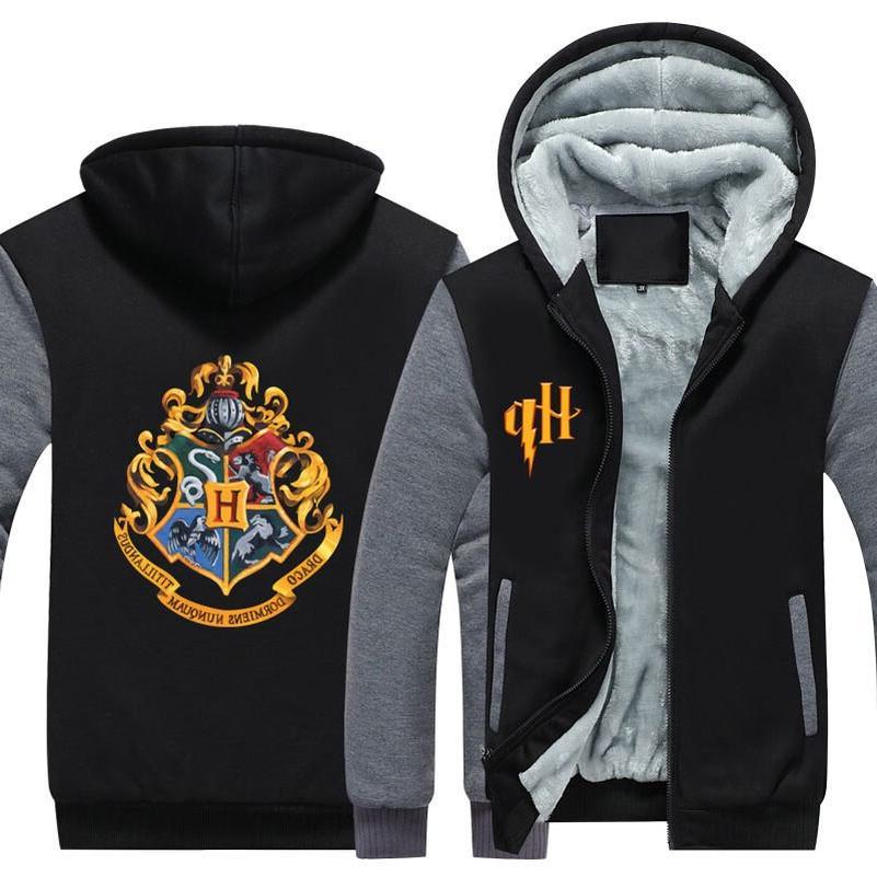 Wizardry Cosplay Sweatshirt Winter <font><b>Jacket</b></font> Men Streetwear Fleece Zip Hoodie Parka Casual